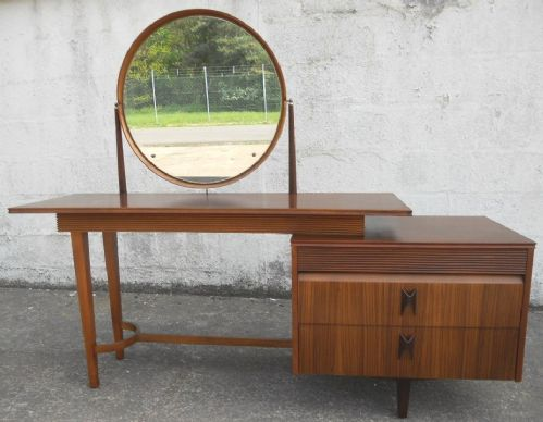 1960's Retro Long Teak Kneehole Dressing Table - SOLD